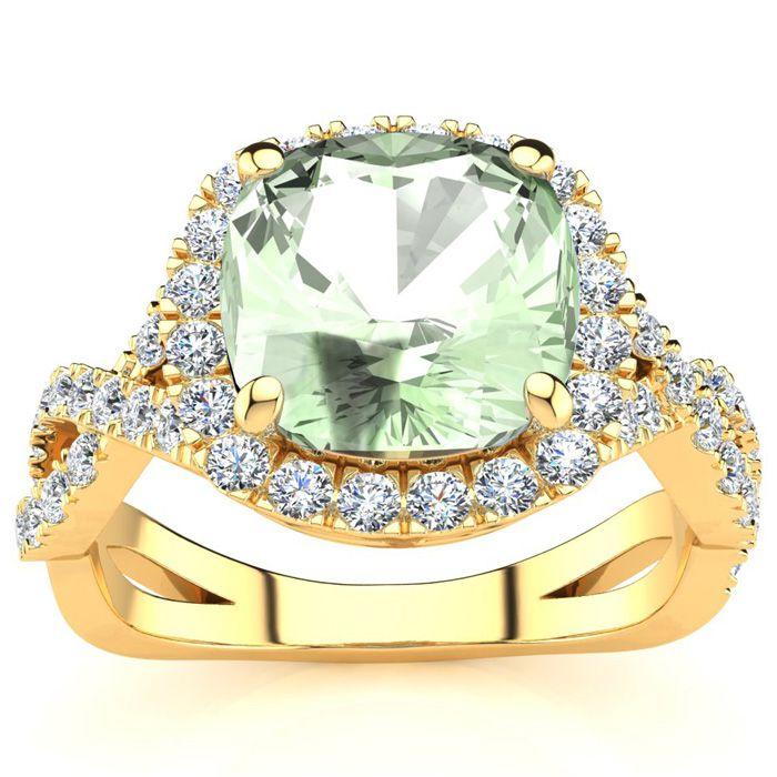 2.5 Carat Cushion Cut Green Amethyst & Halo Diamond Ring w/ Fancy