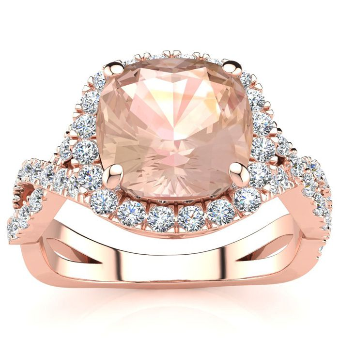 2.5 Carat Cushion Cut Morganite & Halo Diamond Ring w/ Fancy Band in 14K Rose Gold (4 g), I/J by SuperJeweler