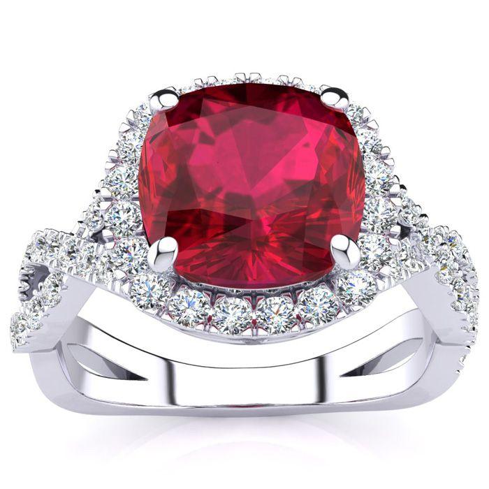3 1/2 Carat Cushion Cut Ruby & Halo Diamond Ring w/ Fancy Band in 14K White Gold (4 g), I/J by SuperJeweler