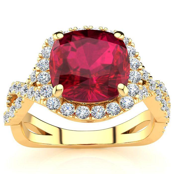 3 1/2 Carat Cushion Cut Ruby & Halo Diamond Ring w/ Fancy Band in