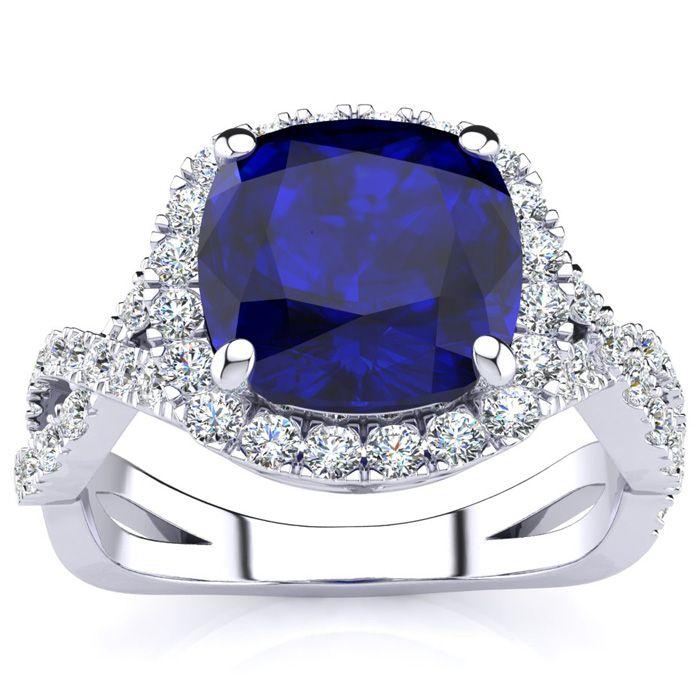 3 1/2 Carat Cushion Cut Sapphire & Halo Diamond Ring w/ Fancy Ban