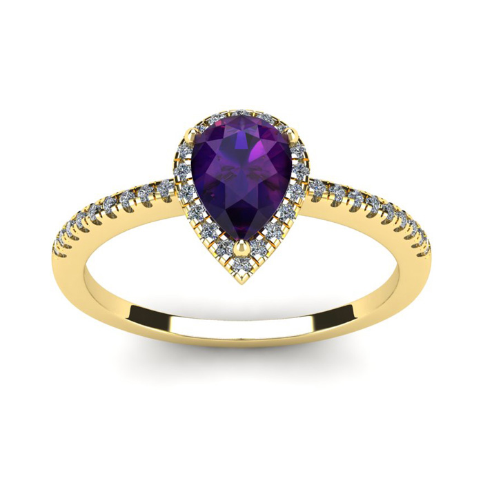 3/4 Carat Pear Shape Amethyst and Halo Diamond Ring In 14 Karat Yellow Gold