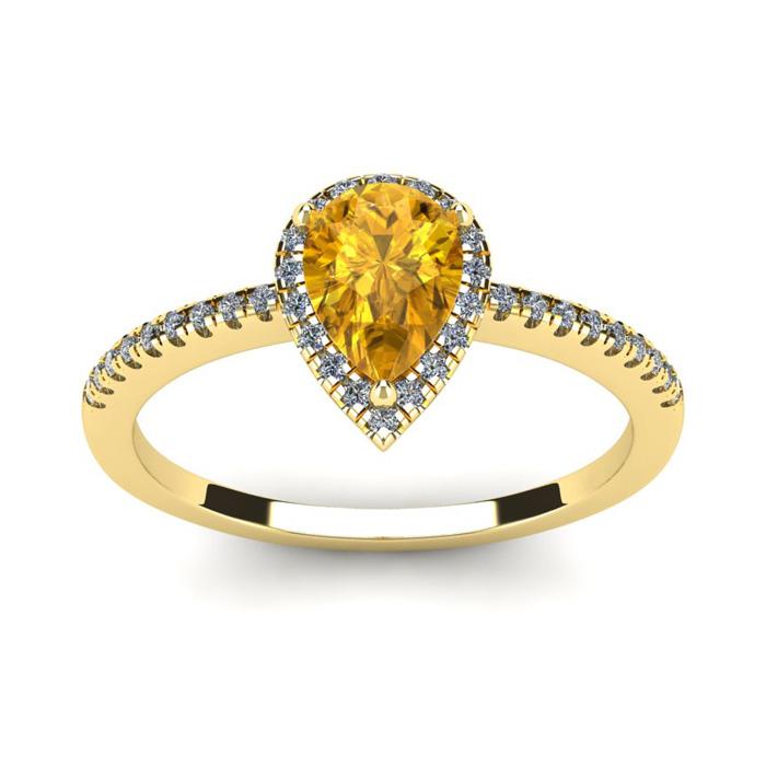 3/4 Carat Pear Shape Citrine & Halo Diamond Ring in 14K Yellow Go