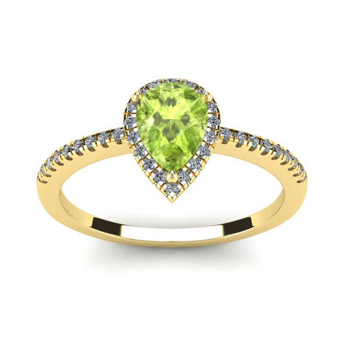 1 Carat Pear Shape Peridot & Halo Diamond Ring in 14K Yellow Gold (2.6 g), I/J by SuperJeweler