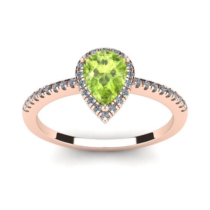1 Carat Pear Shape Peridot & Halo Diamond Ring in 14K Rose Gold (