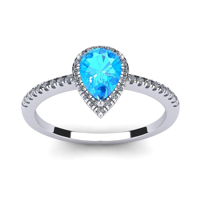1 Carat Pear Shape Blue Topaz & Halo Diamond Ring in 14K White Gold (2.6 g), I/J by SuperJeweler