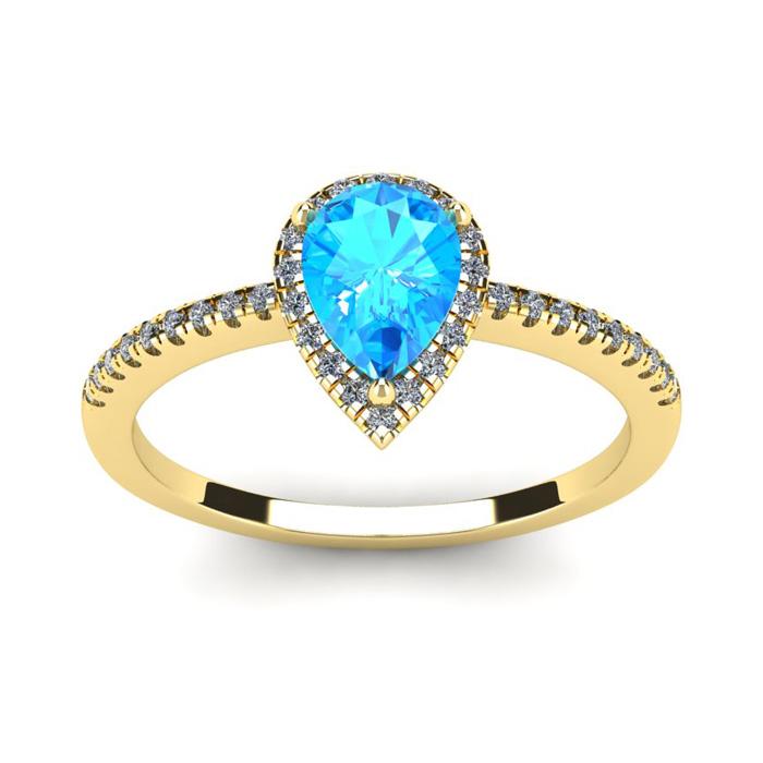 1 Carat Pear Shape Blue Topaz & Halo Diamond Ring in 14K Yellow G