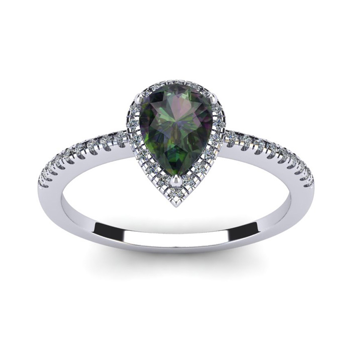 1 Carat Pear Shape Mystic Topaz and Halo Diamond Ring In 14 Karat White Gold 20746