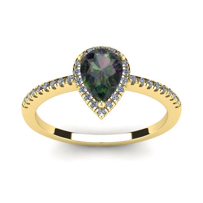 1 Carat Pear Shape Mystic Topaz & Halo Diamond Ring in 14K Yellow