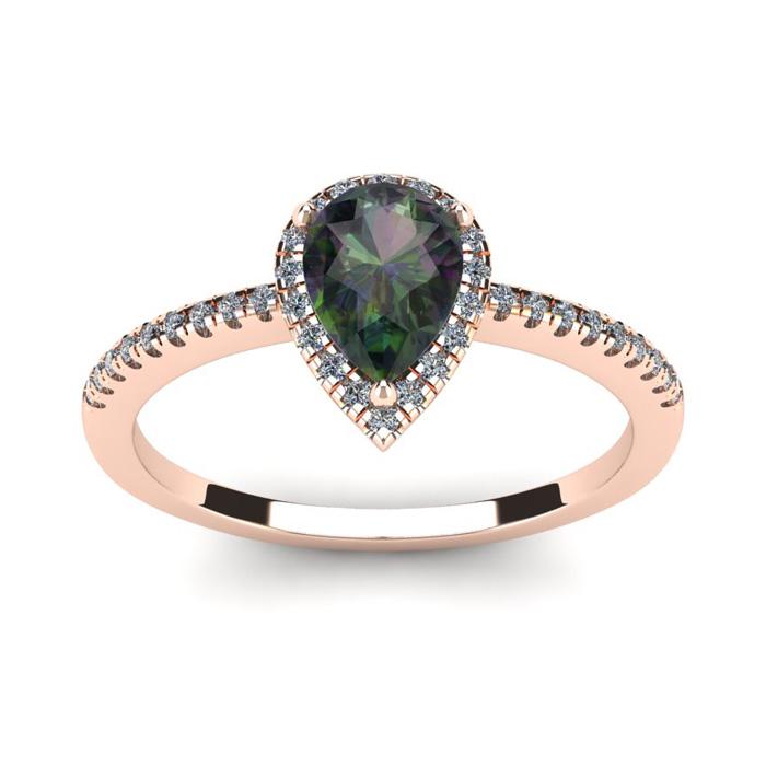1 Carat Pear Shape Mystic Topaz & Halo Diamond Ring in 14K Rose G