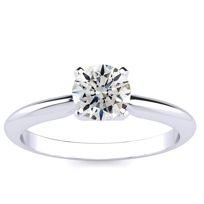 3/4 Carat Round Shaped Diamond Solitaire, Platinum (H-I, SI1-SI2)