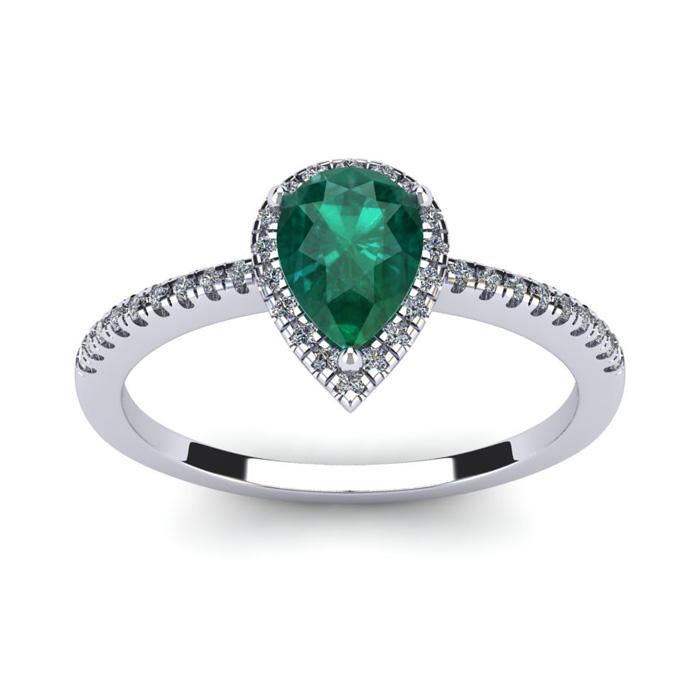 3/4 Carat Pear Shape Emerald and Halo Diamond Ring In 14 Karat White Gold