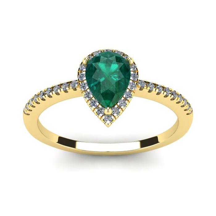 3/4 Carat Pear Shape Emerald Cut & Halo Diamond Ring in 14K Yello