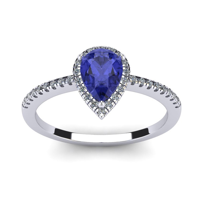 1 Carat Pear Shape Tanzanite & Halo Diamond Ring in 14K White Gol
