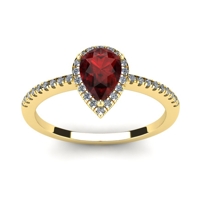1 Carat Pear Shape Garnet & Halo Diamond Ring in 14K Yellow Gold