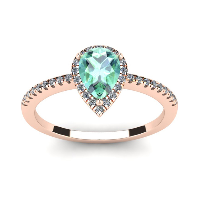3/4 Carat Pear Shape Green Amethyst & Halo Diamond Ring in 14K Rose Gold (2.6 g), I/J by SuperJeweler