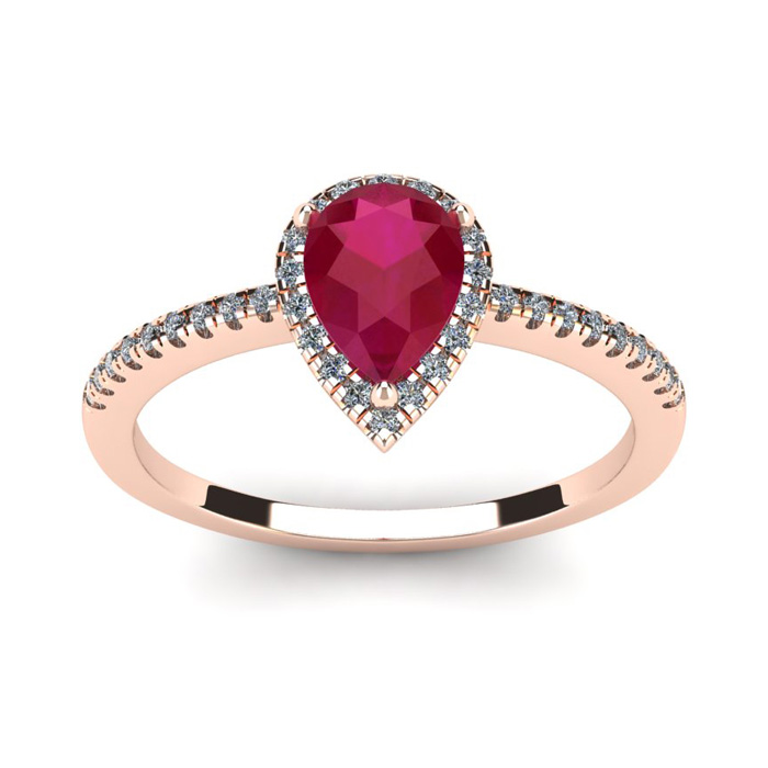 1 Carat Pear Shape Ruby & Halo Diamond Ring in 14K Rose Gold (2.6