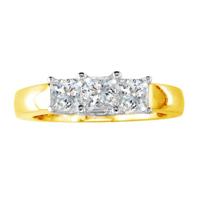 3/4 Carat Princess Cut Three Diamond Ring, 14K Yellow Gold (H-I,