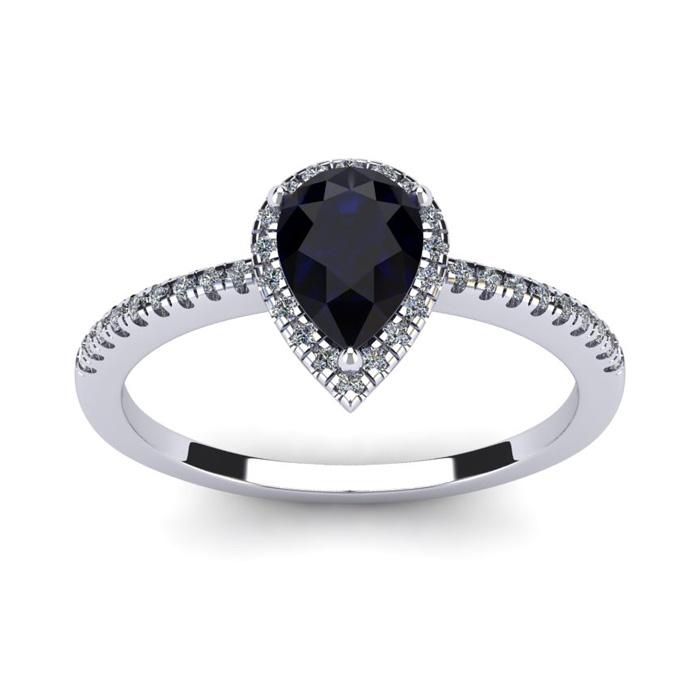 1 Carat Pear Shape Sapphire & Halo Diamond Ring in 14K White Gold (2.6 g), I/J by SuperJeweler