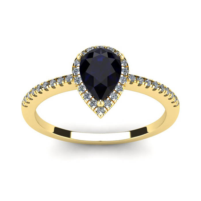 1 Carat Pear Shape Sapphire & Halo Diamond Ring in 14K Yellow Gol
