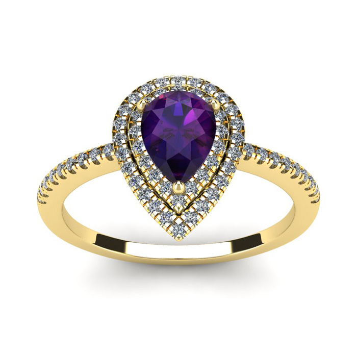 1 Carat Pear Shape Amethyst & Double Halo Diamond Ring in 14K Yel