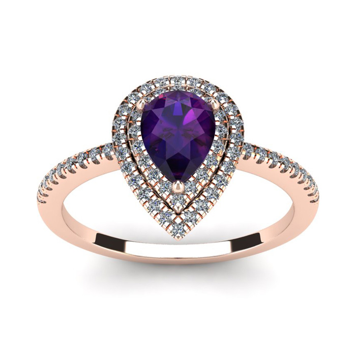 1 Carat Pear Shape Amethyst & Double Halo Diamond Ring in 14K Ros