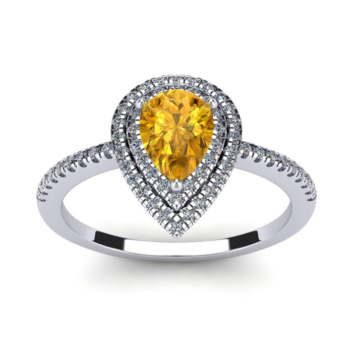 1 Carat Pear Shape Citrine & Double Halo Diamond Ring in 14K Whit