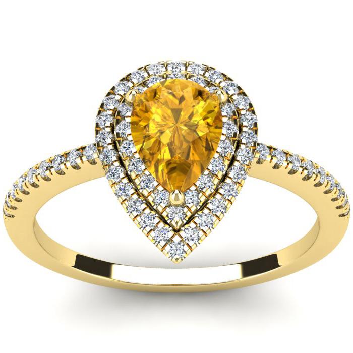 1 Carat Pear Shape Citrine & Double Halo Diamond Ring in 14K Yell