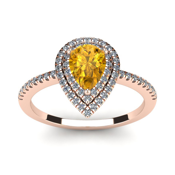 1 Carat Pear Shape Citrine & Double Halo Diamond Ring in 14K Rose