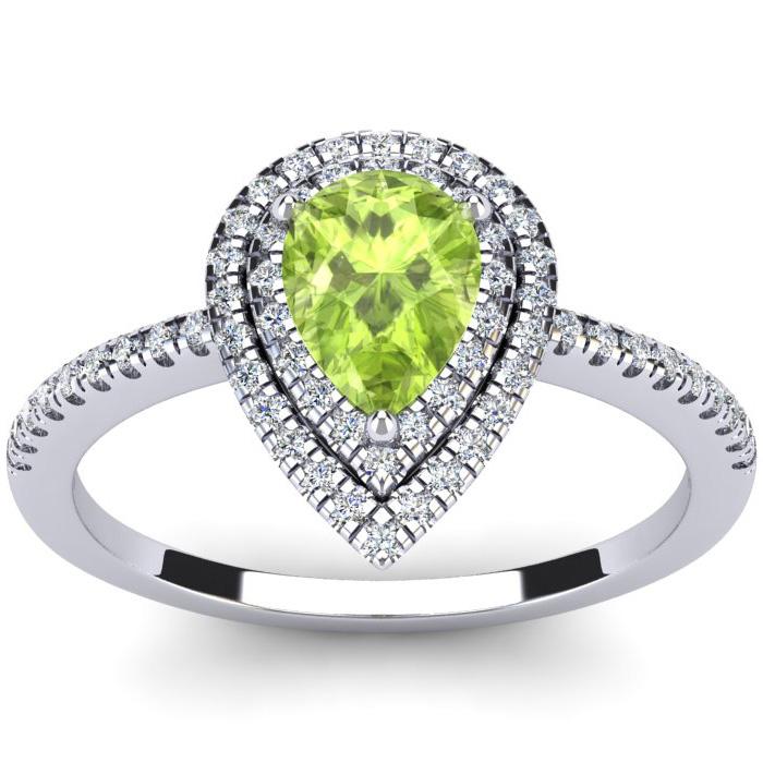 1 Carat Pear Shape Peridot & Double Halo Diamond Ring in 14K Whit