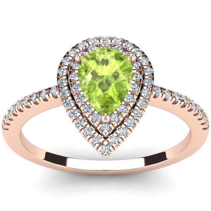 1 Carat Pear Shape Peridot & Double Halo Diamond Ring in 14K Rose