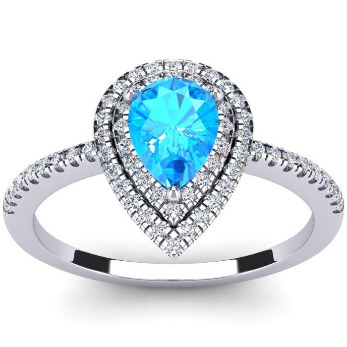 1 1/5 Carat Pear Shape Blue Topaz & Double Halo Diamond Ring in 1