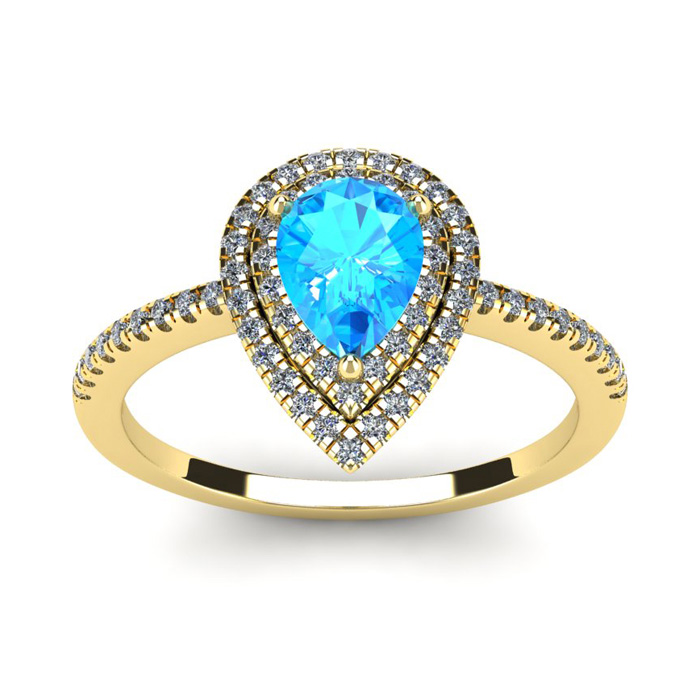 1 1/5 Carat Pear Shape Blue Topaz & Double Halo Diamond Ring in 1