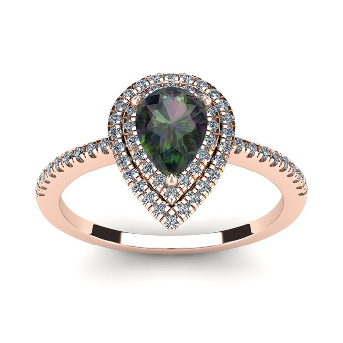 1 1/5 Carat Pear Shape Mystic Topaz & Double Halo Diamond Ring in