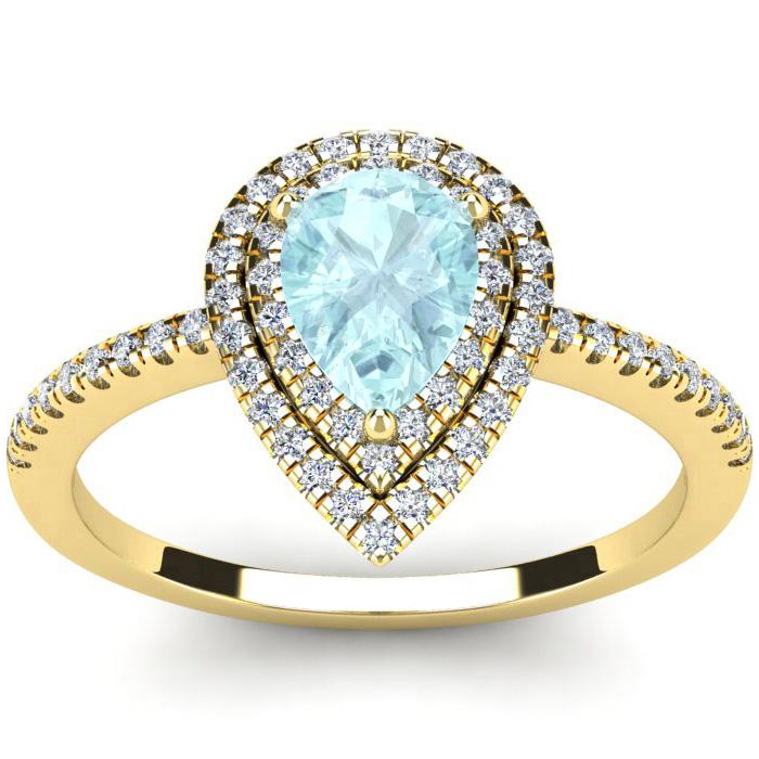 1 Carat Pear Shape Aquamarine & Double Halo Diamond Ring in 14K Y