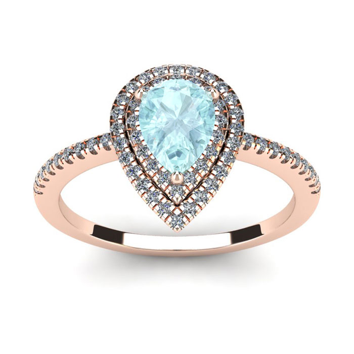1 Carat Pear Shape Aquamarine & Double Halo Diamond Ring in 14K R