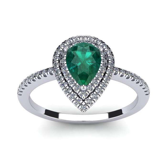 1 Carat Pear Shape Emerald Cut & Double Halo Diamond Ring in 14K