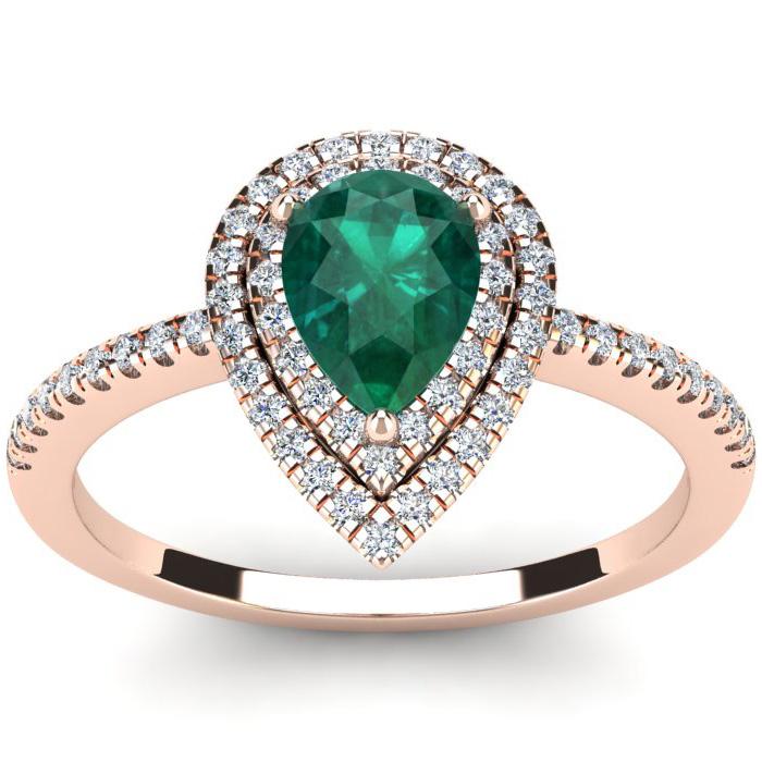 1 Carat Pear Shape Emerald Cut & Double Halo Diamond Ring in 14K