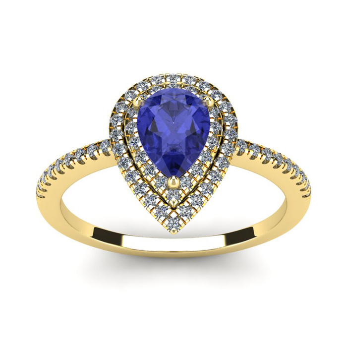 1 Carat Pear Shape Tanzanite & Double Halo Diamond Ring in 14K Ye
