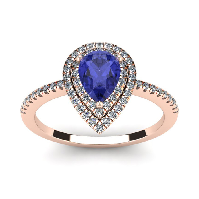 1 Carat Pear Shape Tanzanite & Double Halo Diamond Ring in 14K Ro