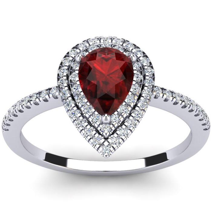 1 1/5 Carat Pear Shape Garnet & Double Halo Diamond Ring in 14K W