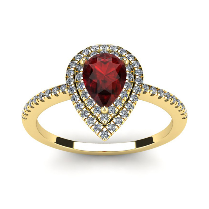 1 1/5 Carat Pear Shape Garnet & Double Halo Diamond Ring in 14K Y