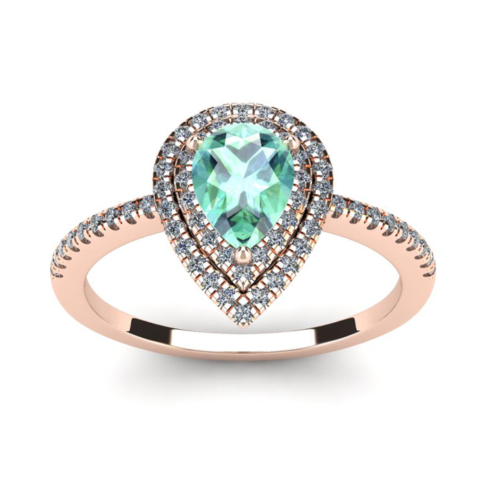 1 Carat Pear Shape Green Amethyst & Double Halo Diamond Ring in 14K Rose Gold (3.2 g), I/J by SuperJeweler