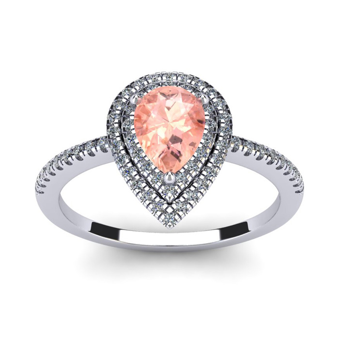 1 Carat Pear Shape Morganite & Double Halo Diamond Ring in 14K Wh