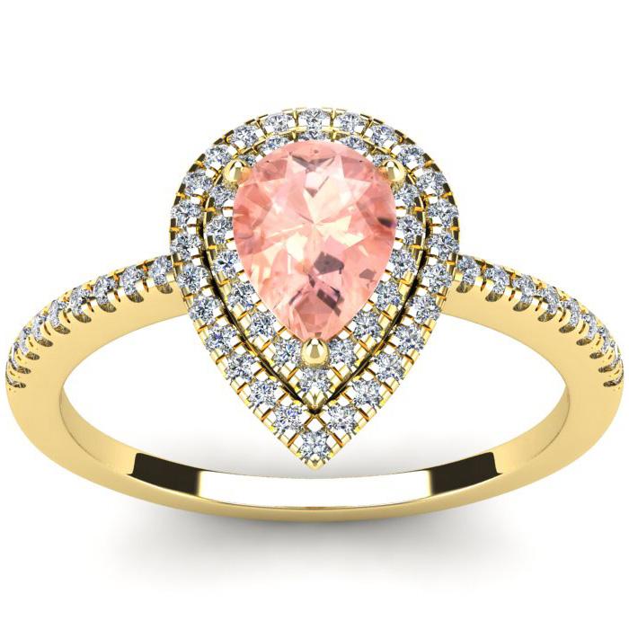 1 Carat Pear Shape Morganite & Double Halo Diamond Ring in 14K Ye