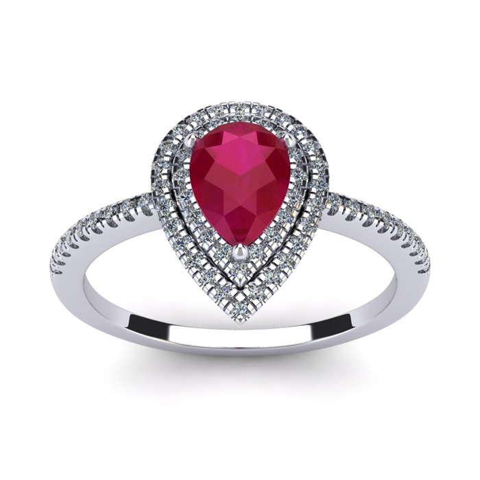 1 Carat Pear Shape Ruby & Double Halo Diamond Ring in 14K White G