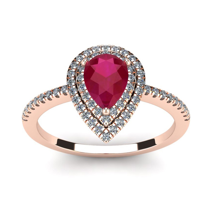 1 Carat Pear Shape Ruby & Double Halo Diamond Ring in 14K Rose Go