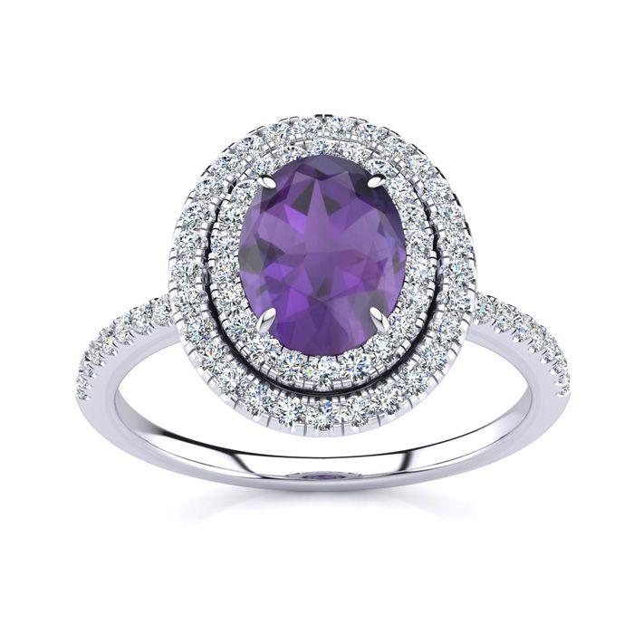 1.5 Carat Oval Shape Amethyst & Double Halo Diamond Ring in 14K W