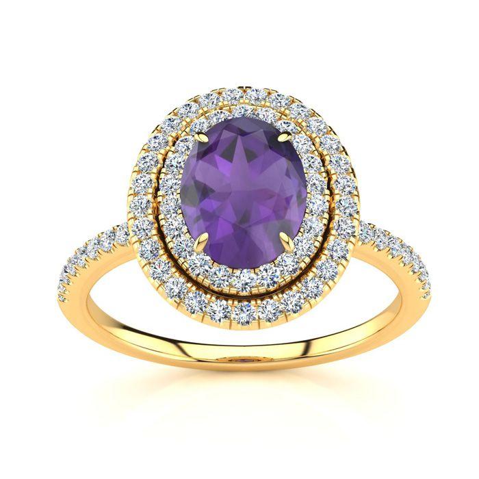1.5 Carat Oval Shape Amethyst & Double Halo Diamond Ring in 14K Y