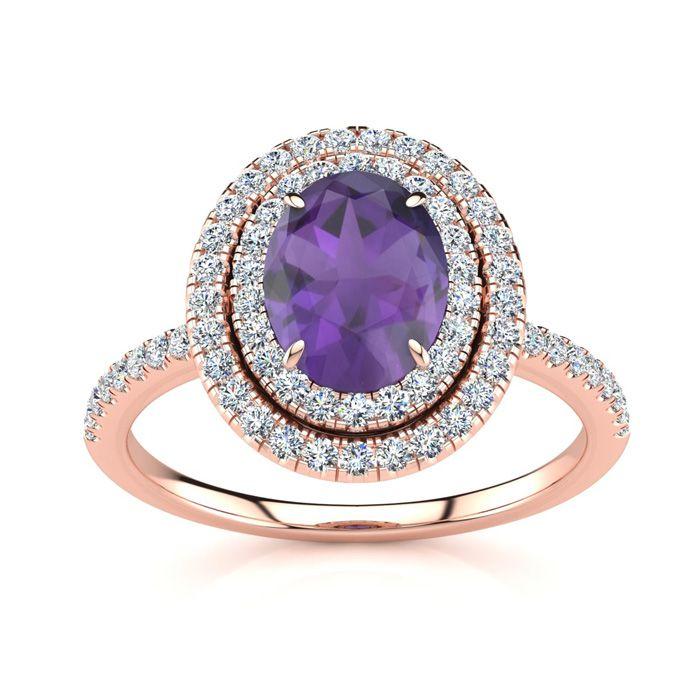 1.5 Carat Oval Shape Amethyst & Double Halo Diamond Ring in 14K R